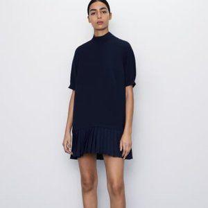 NWT Zara Pleated Hem Navy Dress